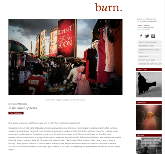 Screenshot Krzysztof Maniocha Burn magazine