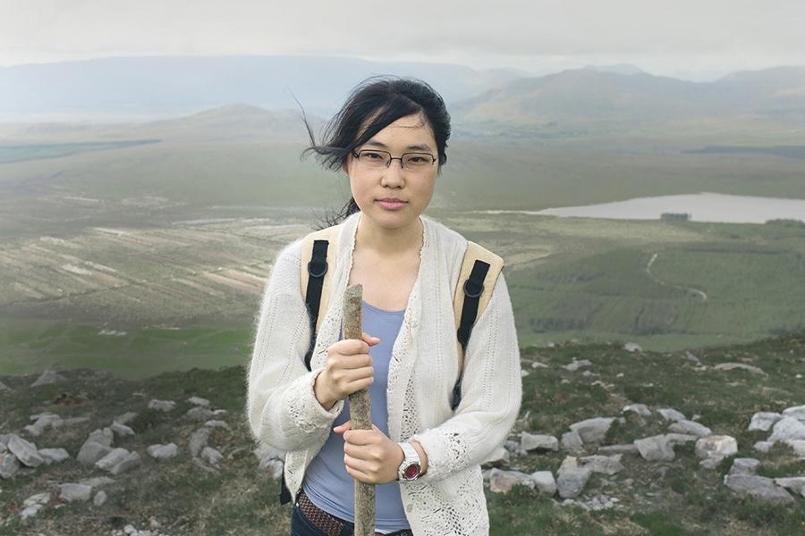 Croagh Patrick Asian female pilgrim portrait