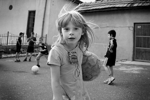 Girl plays soccer in Sarajevo, Bosnia