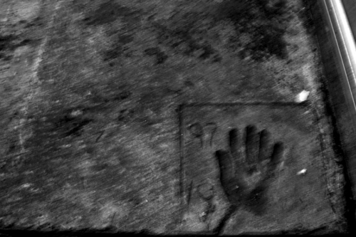 hand imprint,on the wall