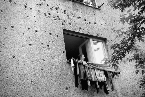 War damage on the building