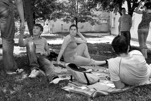 Studens at the park in Sarajevo