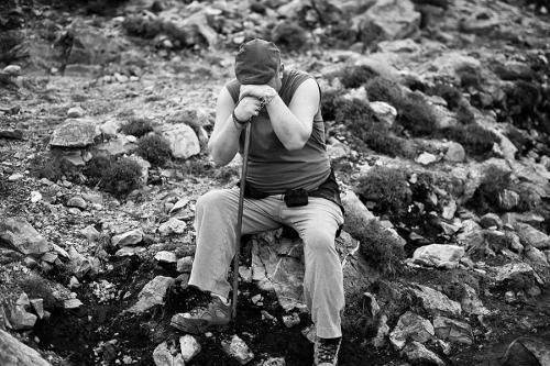 Croagh Patrick pilgrim having a rest