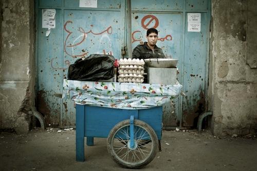 Lotfi, street vendor selling eggs,Tunis