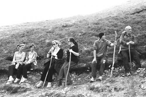 Croagh Patrick pilgrims having a rest