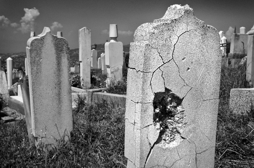 War damage at the local cemetery, Sarajevo