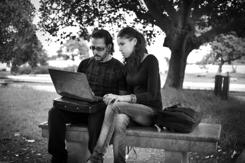 Asma and Ahmed at the park, Tunis