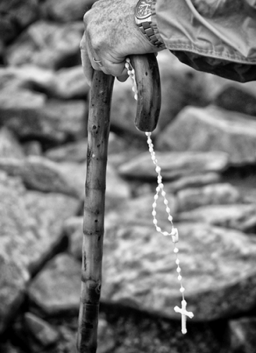 Croagh Patrick pilgrim with rosary