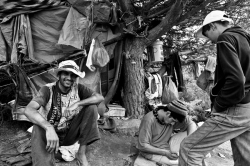 Would-be immigrants in a makeshift camp near Ceuta