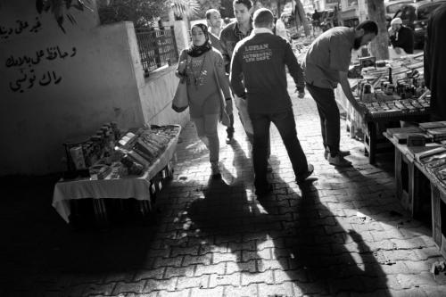 Street scene in the front of El Fateh mosque in Tunis