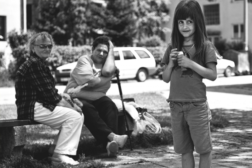 Girl and 2 older women at the park, Sarajevo
