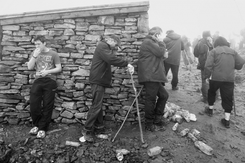 Croagh Patrick pilgrims at the top of the mountain