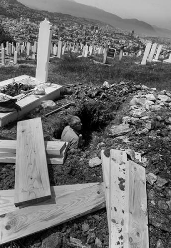 Gravedigger at work, Sarajevo