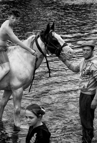 Travellers family and a horse in the river