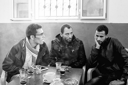 15. Najeh, Majdi and Miled, soon to be graduates chatting at a café