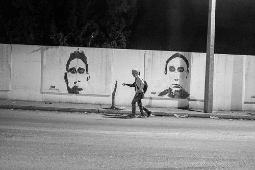 21. Street in Regueb, graffiti presents the portraits of local martyrs, killed during revolution 2011