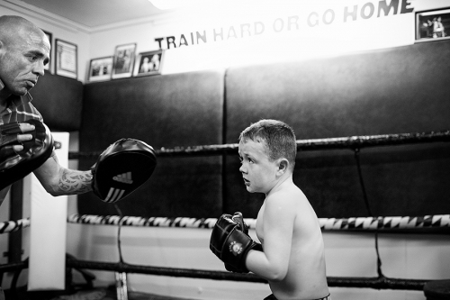 Coach-Sean-Burke-with-his-son-Harry at Donore Boxing Club