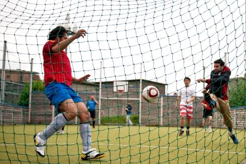 Men play soccer match