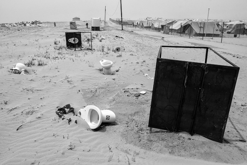 Discarded toilets at Choucha camp