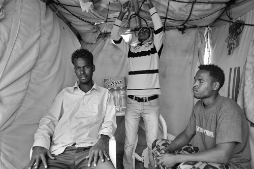 Refugees inside the tent, Choucha camp