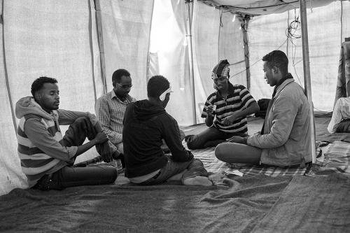Refugees inside the tent, Choucha refugee camp, Tunisia