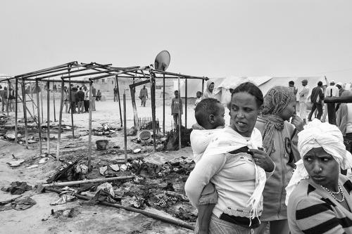 Burned tent, Choucha refugee camp,Tunisia