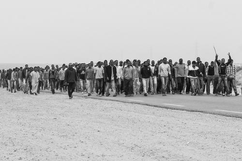 Refugees protest, Choucha refugee camp,Tunisia