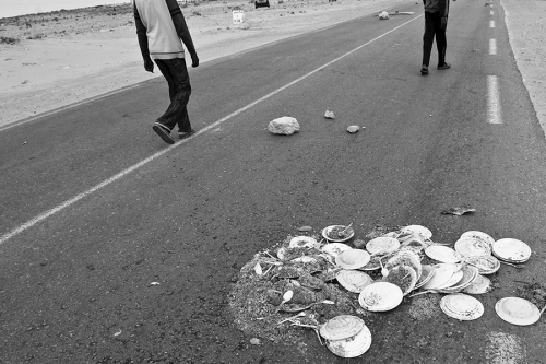 Discarded food portions during the protest at the Choucha refugee camp,Tunisia