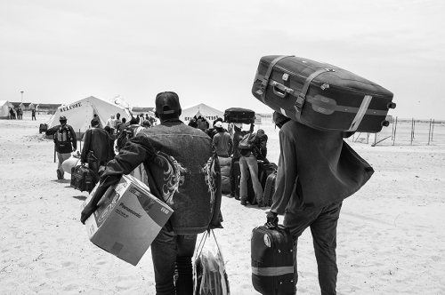 Refugees arriving at Choucha camp