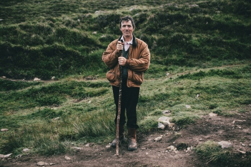 Croagh Patrick, portrait of a male pilgrim with a walking stick