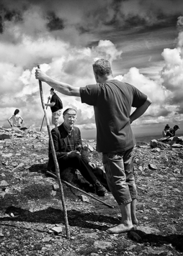 Croagh Patrick pilgrims at the top of the mountain, Co. Mayo, Ireland
