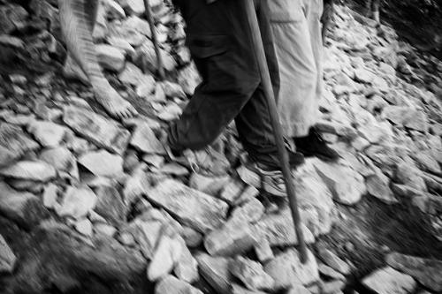 Barefoot pilgrim descents Croagh Patrick