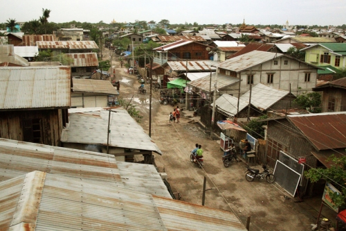 Overlooking a village on the outskirts of Mandalay, Myanmar