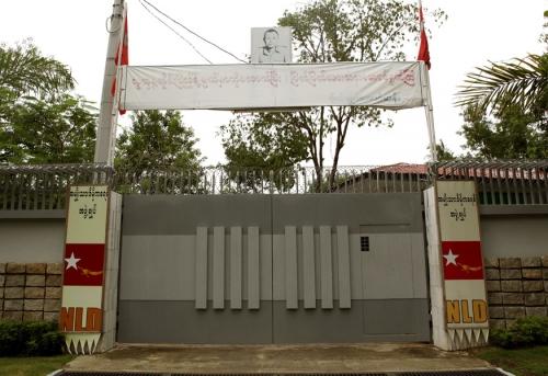 The Gates leading to Aung San Suu Kyi compound, Yangon, Myanma