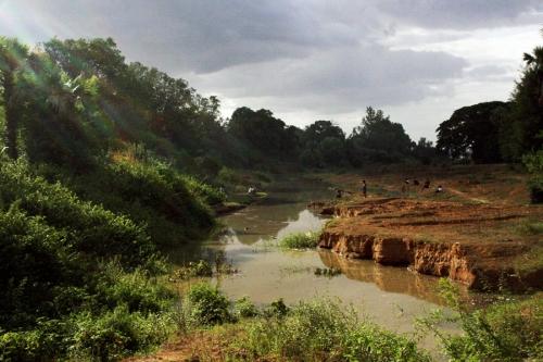 Nyaung U river where locals spend their day fishing. Nyaung U, Bagan