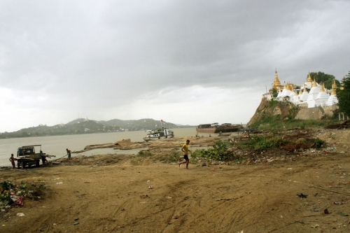 A temple looks out on a river, Mandalay, Myanmar,