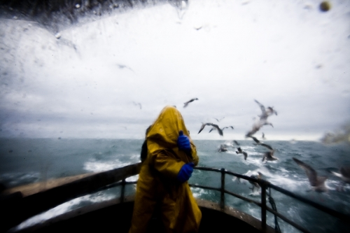 Irish Sea, a fisherman changing clothes
