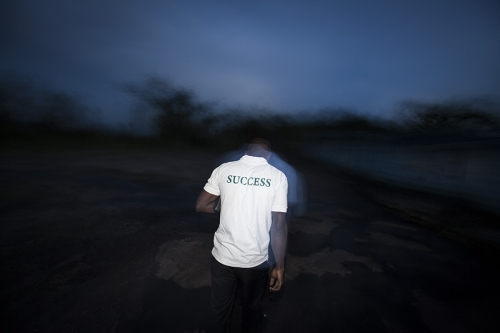 Man walks at night
