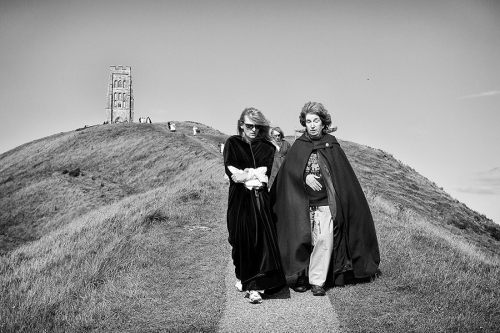 Women walk at the neopagans gathering in the UK