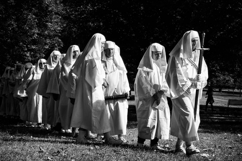 Neopagans marching with a sword, UK