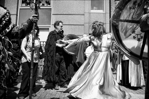 Neopagans walk through the London city centre
