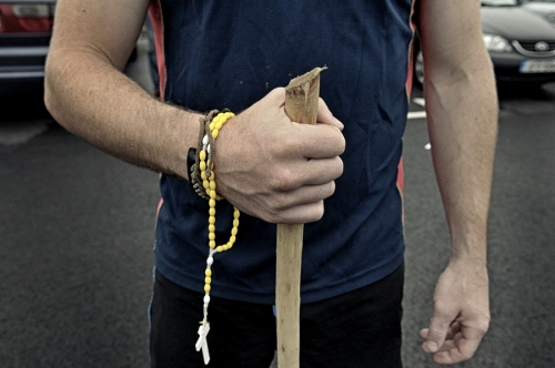 Hands of Croagh Patrick pilgrim