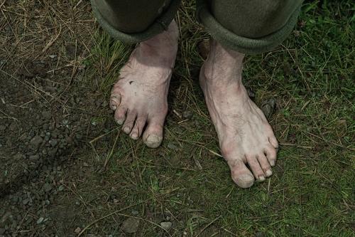 Feet of Croagh Patrick pilgrim