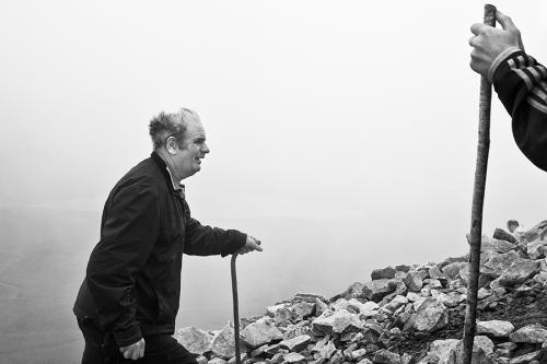 Croagh Patrick pilgrim climbs the mountain
