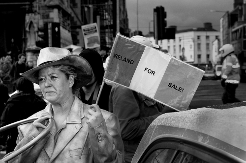 Woman at the anti-government demonstration, Dublin