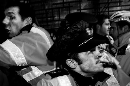Gardai at the anti-government demonstration, Dublin