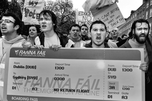 Students at the anti-government demonstration, Dublin