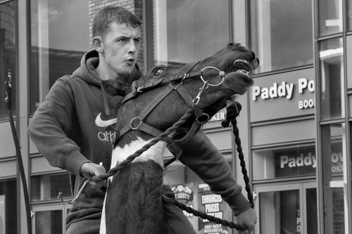 Bareback rider at Smithfield horse fair, Dublin