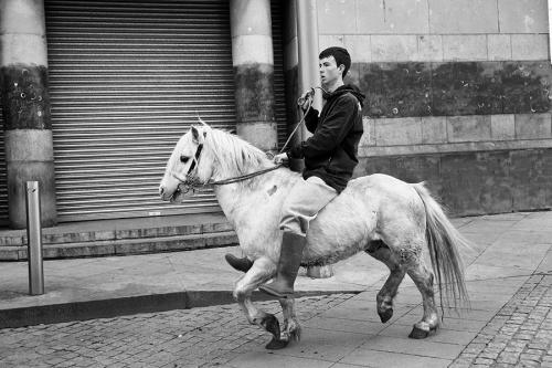 Bareback rider on the street of Dublin