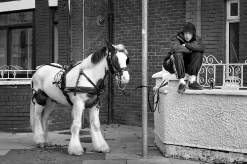 Young man sits next to his horse, Dublin
